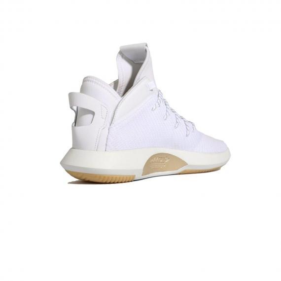 کتونی بسکتبال ادیداس سفید مدل Crazy1 با رویه جورابی سبک و راحت و زیره مقاوم از نمای 3رخ داخل پا چپ