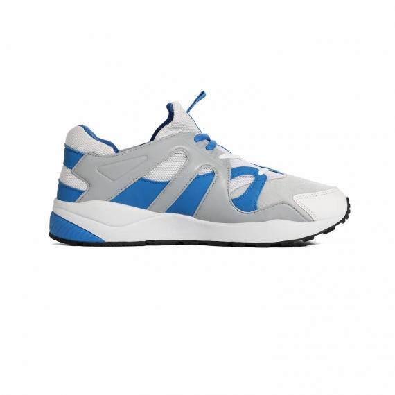 کفش پیاده روی مردانه و زنانه مخصوص راه رفتن های زیاد و طولانی سفید و ابی از نمای داخل پا چپ از بغل