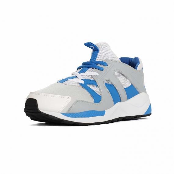 کفش ورزشی تابستانی زنانه و مردانه پونی با رویه طوسی سفید و ابی بند دار با لایه میانی طبی از مای 3رخ جلو پا چپ