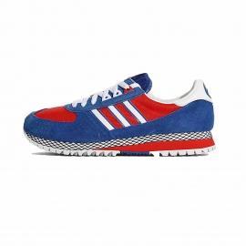 کتانی اسپرت مردانه آدیداس ماراتن مخصوص راهپیمایی و پیاده روی طولانی با جنس جیر و رنگ آبی، قرمز و 3 خط سفید در کناره کفش به همراه لایه میانی قرمز و مشبک سیاه سفید
