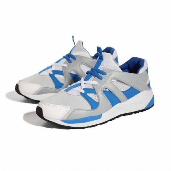 کفش تابستانی مردانه سفید و ابی و طوسی برای عرق نکردن پا فوق العاده راحت از نمای 3رخ کتانی جفت شده