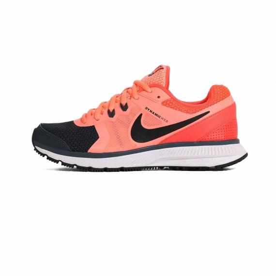 کتونی ورزشی زنانه نایک نارنجی ومشکی با بندهای نارنجی و لایه میانی سفید همراه با زیره لاستیکی عاج دار مشکی و نماد Nike در کناره کفش
