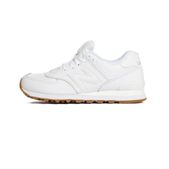 کفش کتونی بندی نیو بالانس سفید از جنس چرم با زیره عاج دار لاستیکی قهوه ای روشن، درج لوگو N و نام Encap بر طرفین کفش