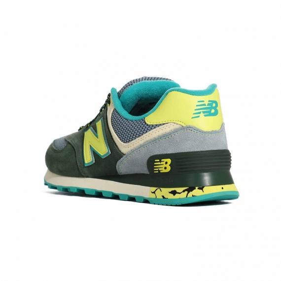 کتونی نیو بالانس زنانه اورجینال مخصوص پیاده روی و راه رفتن طولانی با رویه سبز و زرد از نمای 3رخ بیرون پا چپ