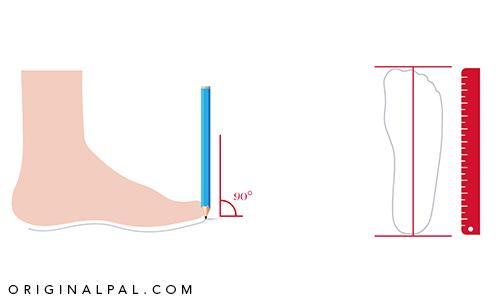 قرار دادن مداد عمود بر زمین مقابل شصت پا برای به دست آوردن اندازه دقیق پا و سایز مناسب کفش