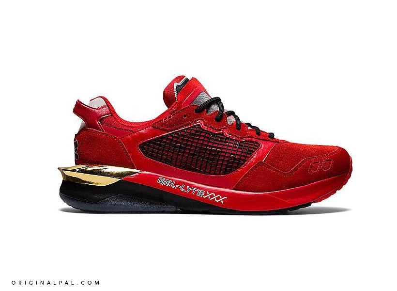 نمای کنار کفش جدید اسیکس ژل لایت قرمز با نوشته مدل کفش در لایه میانی