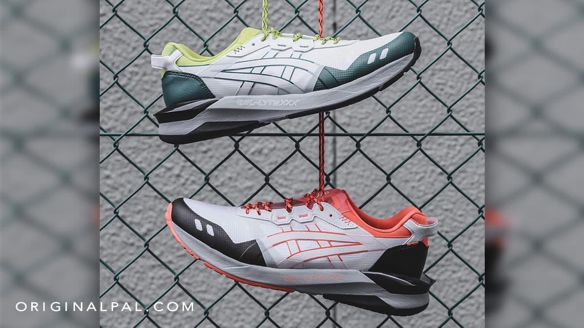 کفش اسیکس ژل لایت GEL در دو رنگ سبز سفید و نارنجی سفید