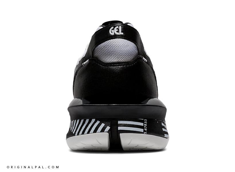 نمای پشت کفش اسپرت آسیکس ژل لایت سه ایکس مشکی و نوشته Gel در پشت کفش