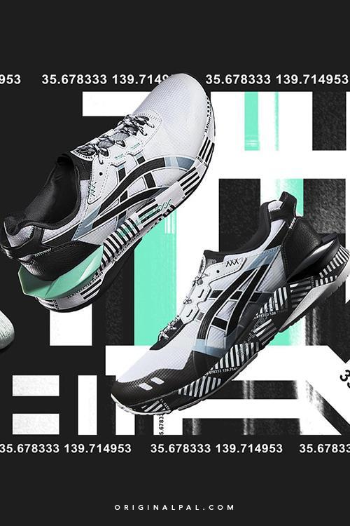 کفش ژل لایت اسیکس جدید با رنگ سفید و مشکی نمای عکس از کناره های کتونی