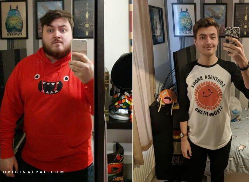 دو عکس از یک شخص قبل و بعد از کم کردن وزن