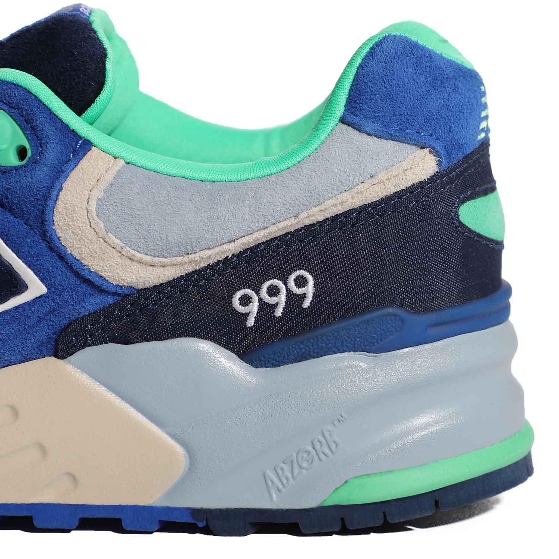 5_.نیوبالانس الیت New Balance ML999OBB | کفش دخترانه سبز آبی | کتونی پسرانه سالنی رنگی | کتانی لاغری